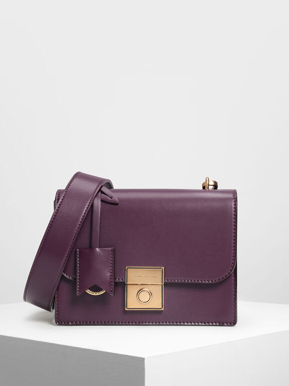 Structured Crossbody Bag, Purple, hi-res