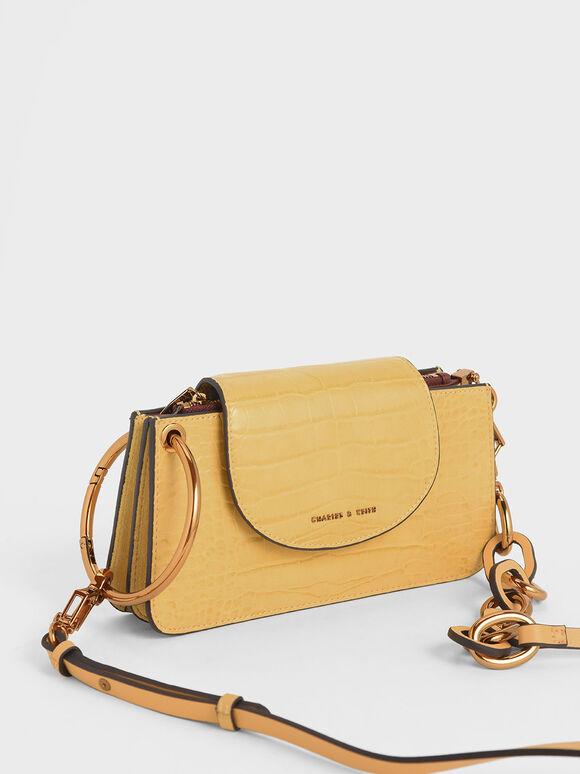 Croc-Effect Ring Handle Mini Front Flap Wallet, Yellow, hi-res
