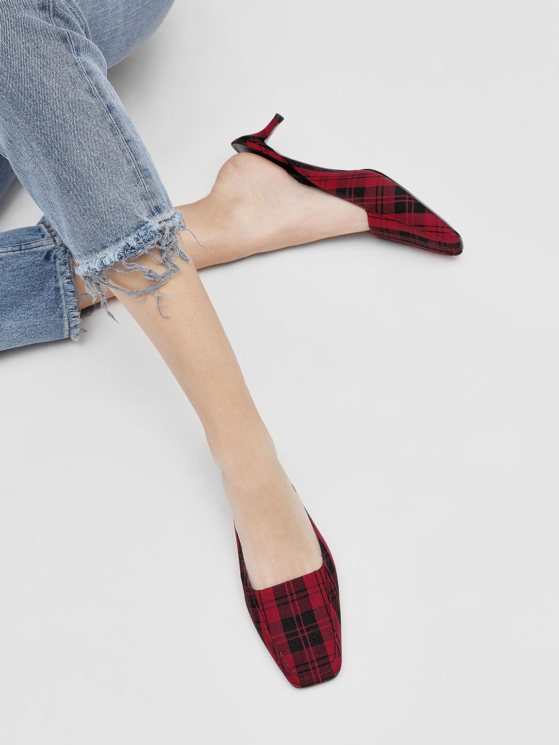 Square Toe Mules, Red, hi-res