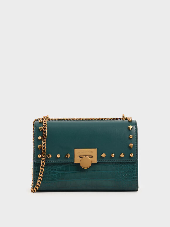 Croc-Effect Embellished Clutch, Dark Green, hi-res