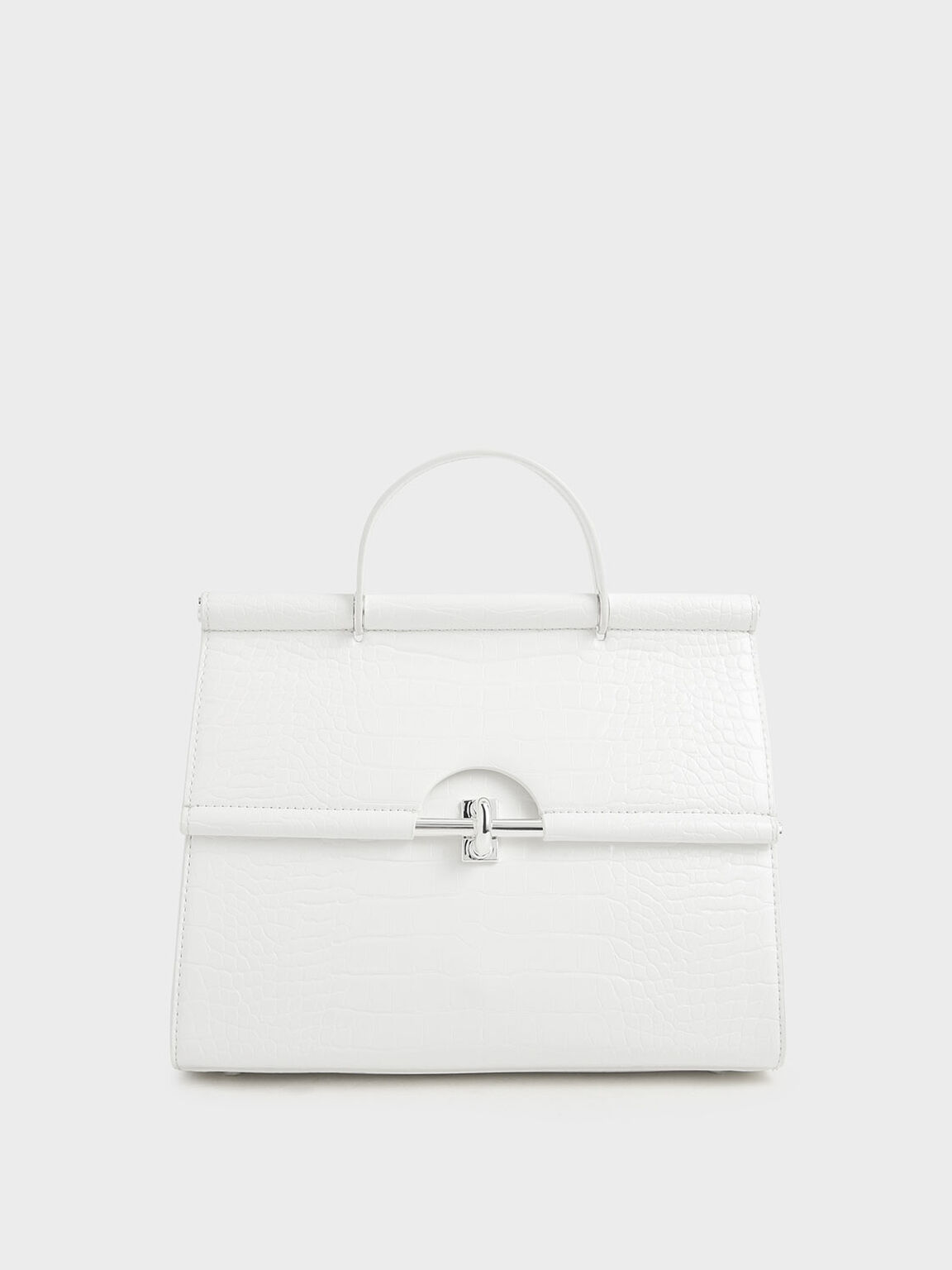 Croc-Effect Structured Single Top Handle Bag, White, hi-res