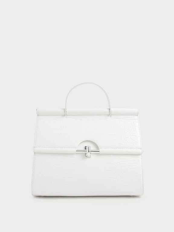Croc-Effect Structured Single Top Handle Bag, White