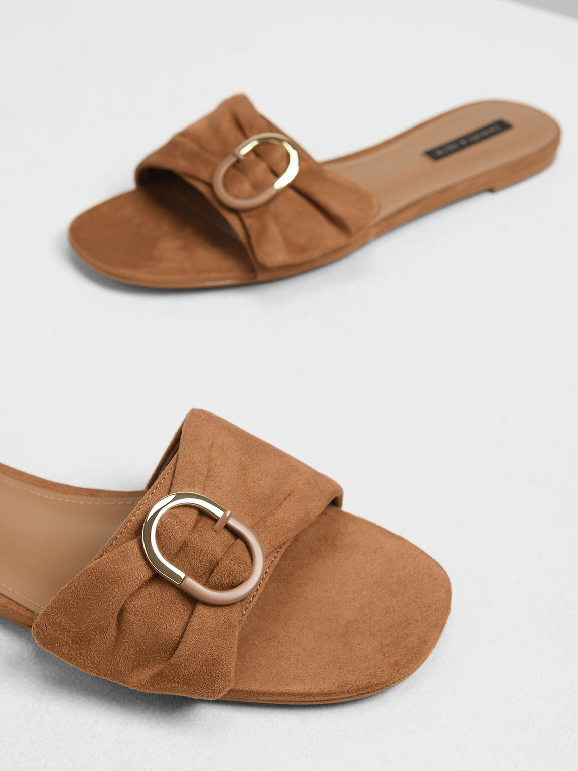Ruched Two-Tone Buckle Slide Sandals, Brown, hi-res