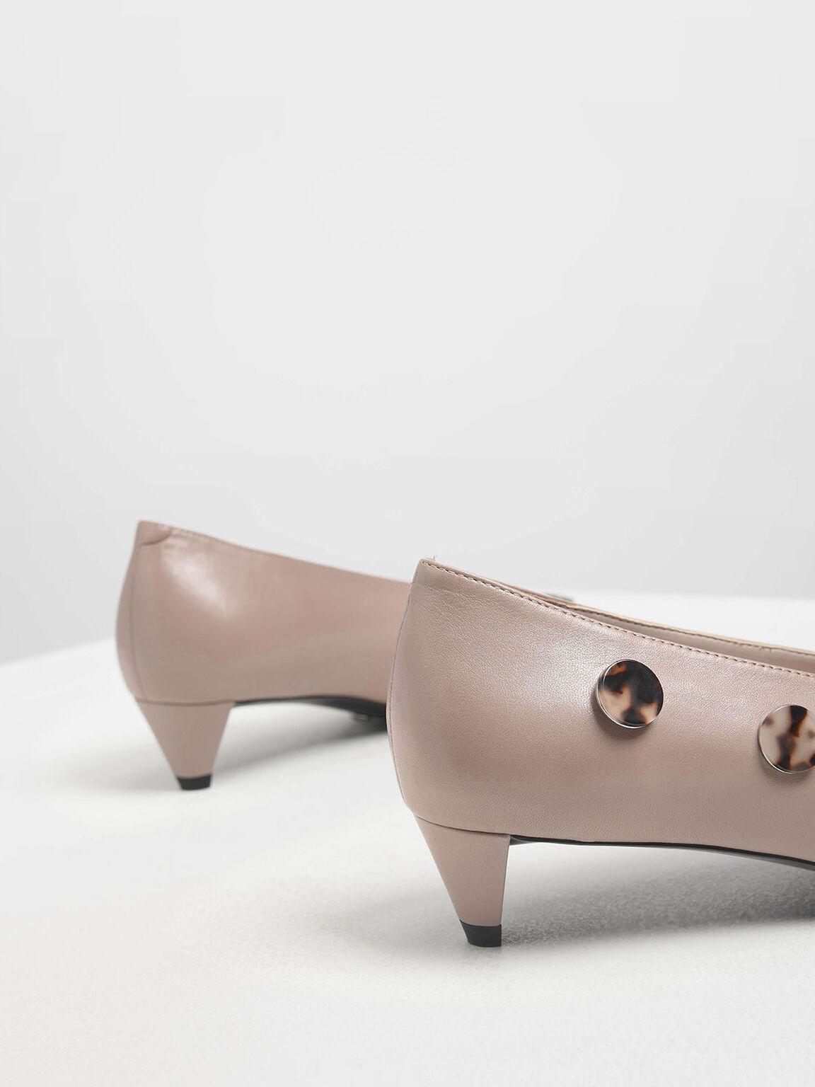 Tortoiseshell Button Detail Leather Pumps, Mauve, hi-res
