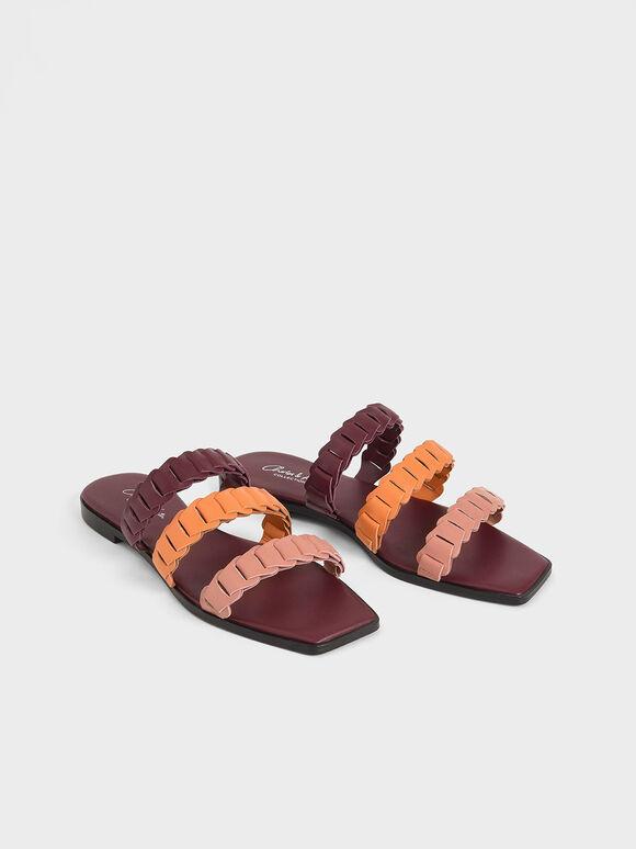 真皮打褶帶拖鞋, 混色, hi-res