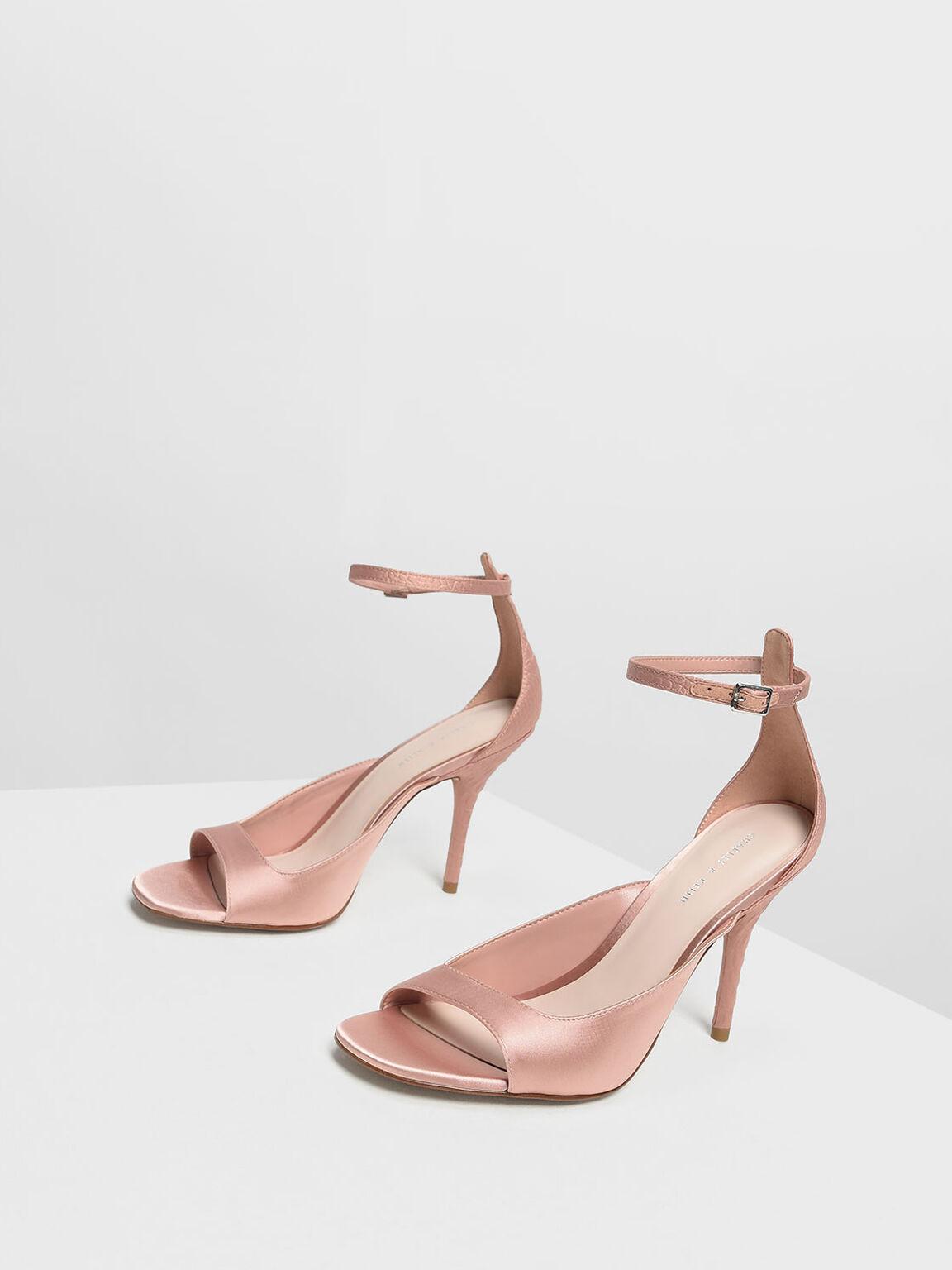 緞面繞踝高跟鞋, 膚色, hi-res