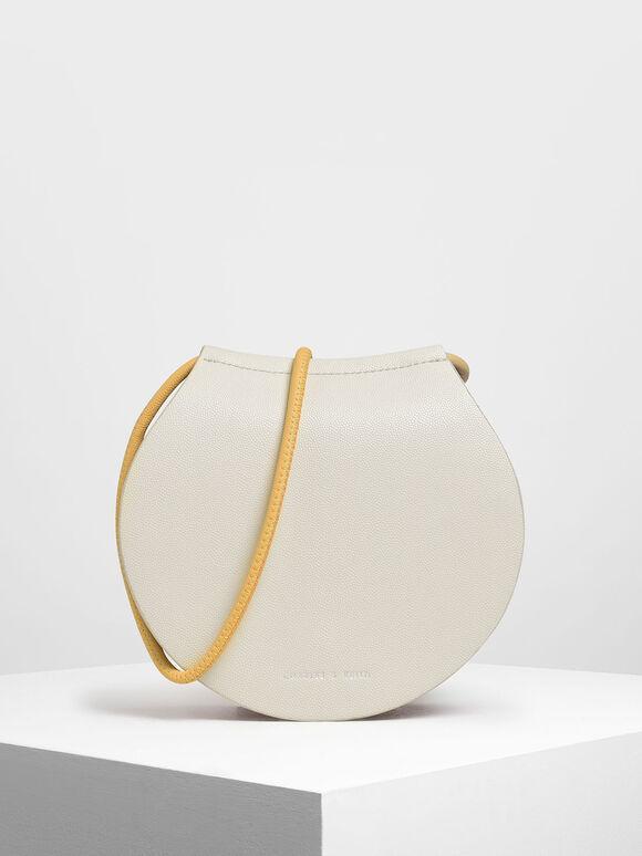 Semi Circle Crossbody Bag, White, hi-res