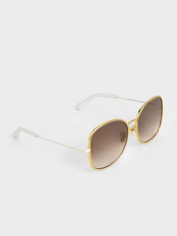 金屬方框墨鏡, 奶油色, hi-res