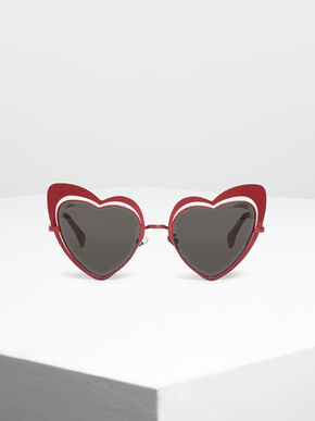 Heart-Shaped Sunglasses, Red