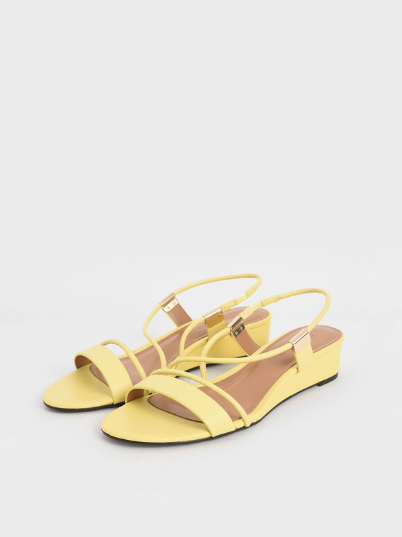 Strappy Slingback Wedges, Yellow, hi-res