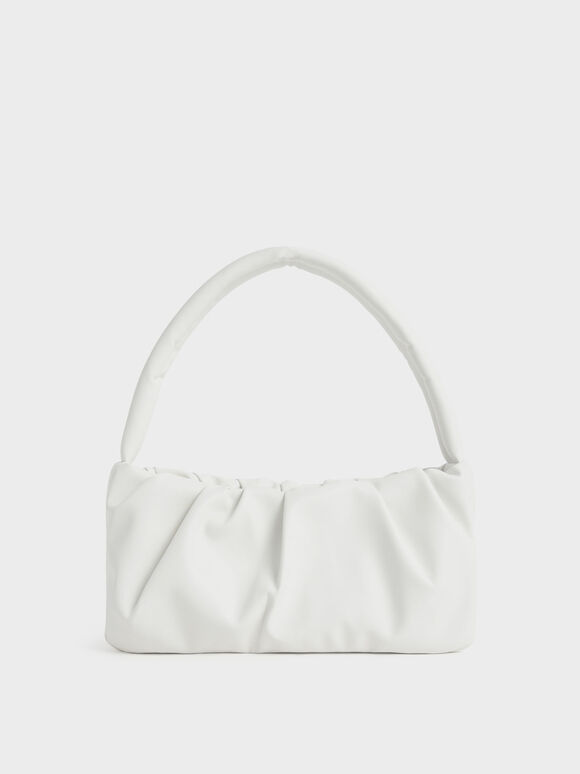 Ruched Top Handle Bag, White, hi-res