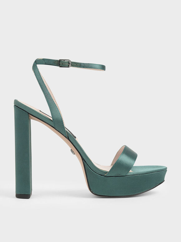 Satin Platform Heels, Green, hi-res