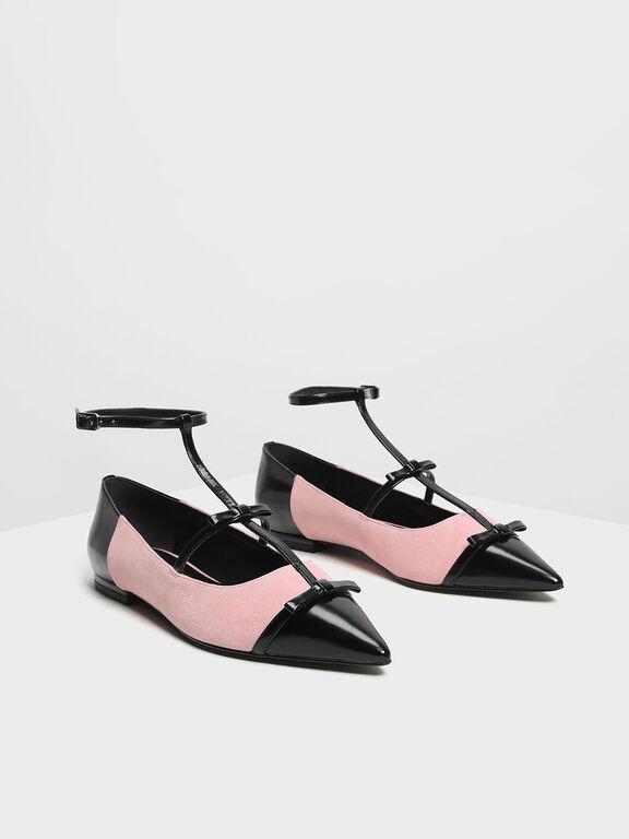 Kid Suede Ribbon Detail Ballerina Flats, Pink, hi-res