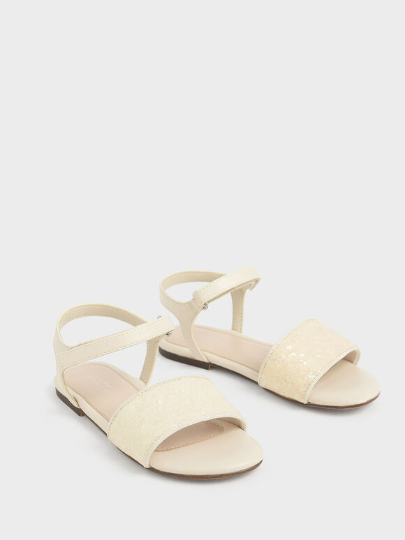 Girls' Glitter Sandals, Beige, hi-res