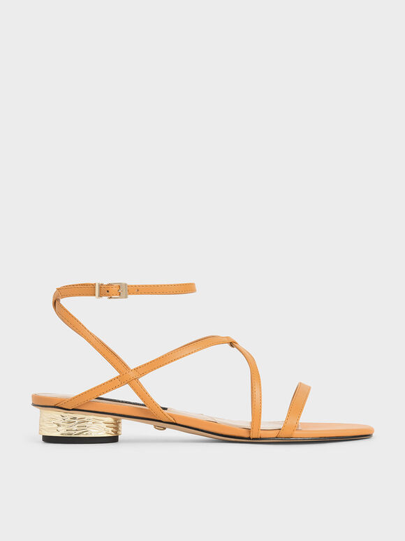 Leather Strappy Sandals, Orange, hi-res