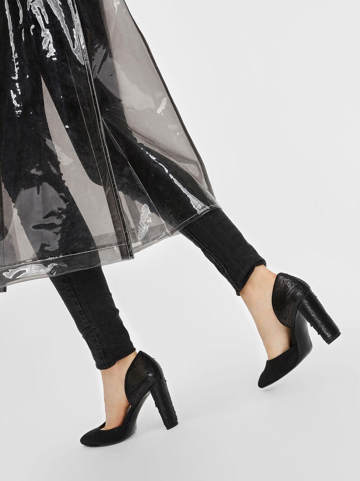 Sequin D'orsay Pumps, Black, hi-res