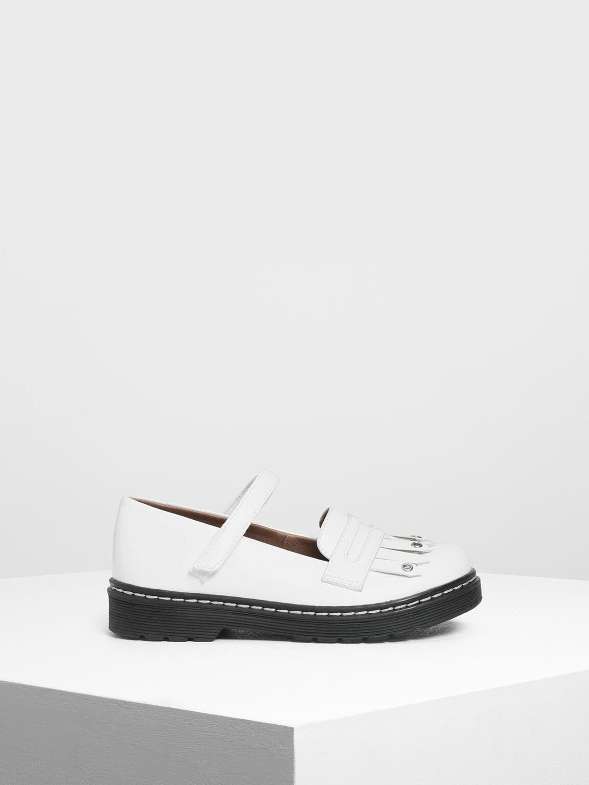 Kids' Fringe Loafers, White, hi-res
