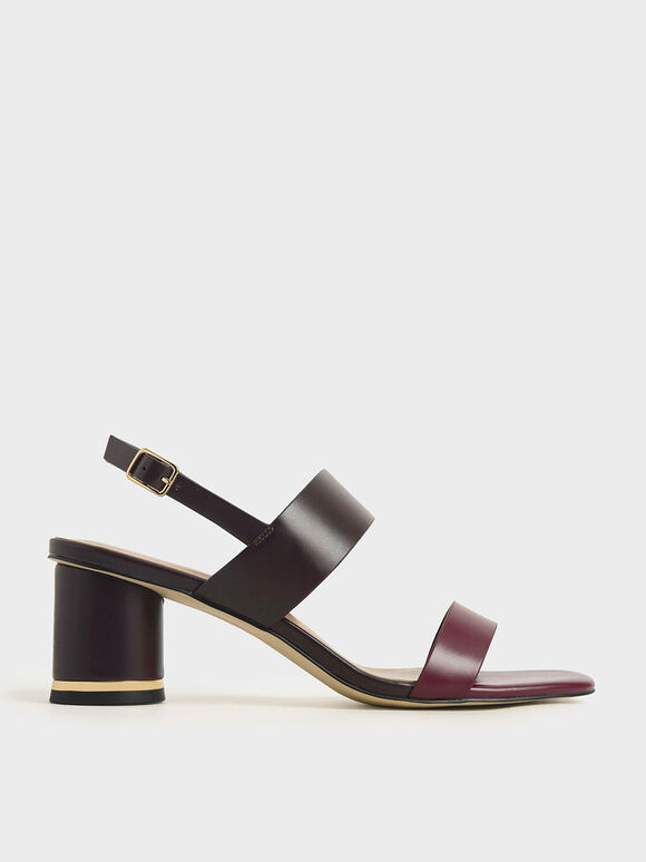 Two-Tone Cylindrical Heel Sandals, Burgundy, hi-res