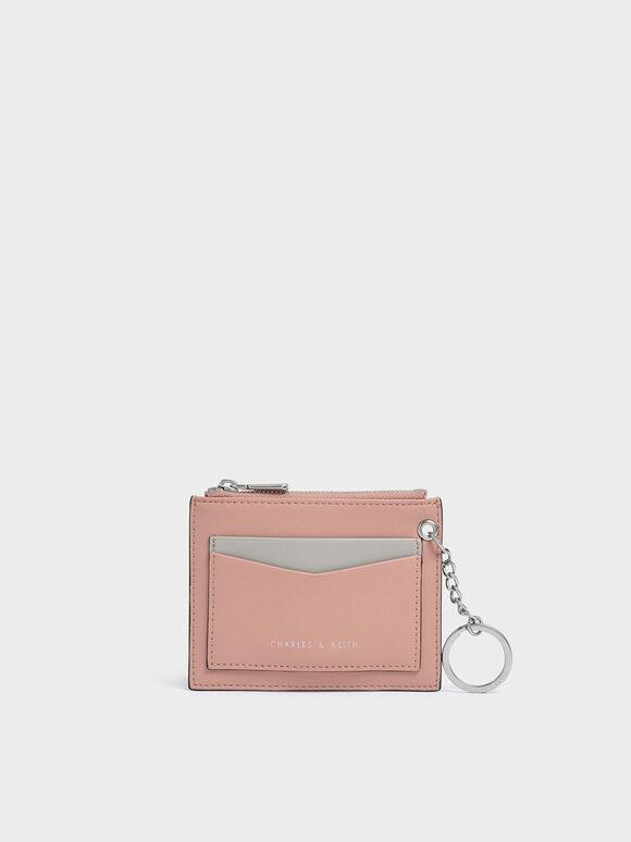 Two-Tone Zip Pocket Card Holder, Pink, hi-res