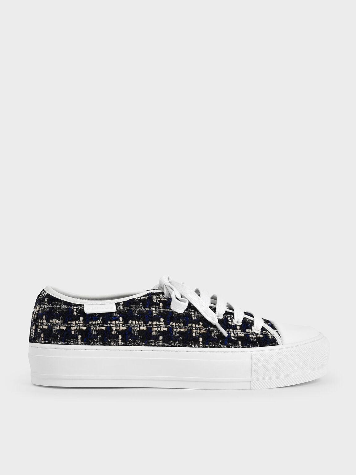 Tweed Sneakers, Dark Blue, hi-res