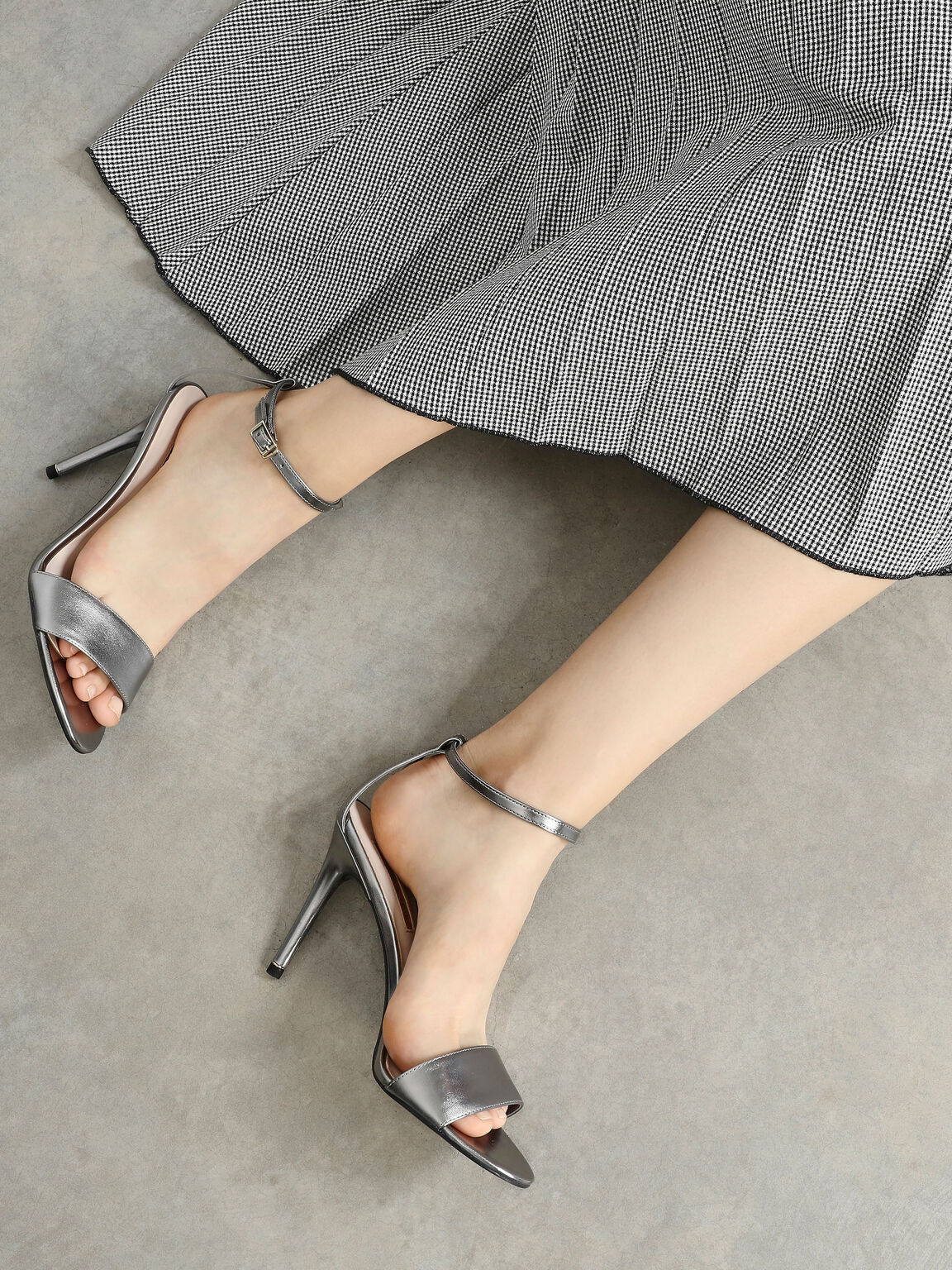 Classic Heeled Sandals, Silver, hi-res