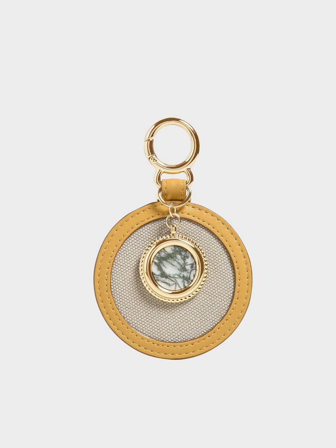 Semi-Precious Stone Round Keychain, Mustard, hi-res