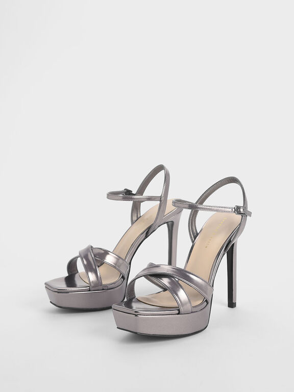Criss Cross Ankle Strap Metallic Platform Heels, Pewter, hi-res
