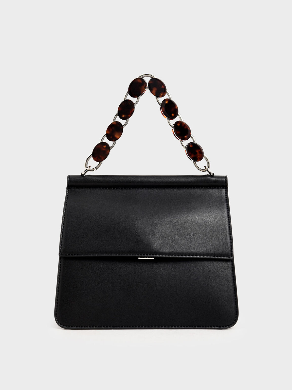 Acrylic Tortoiseshell Top Handle Bag, Black, hi-res