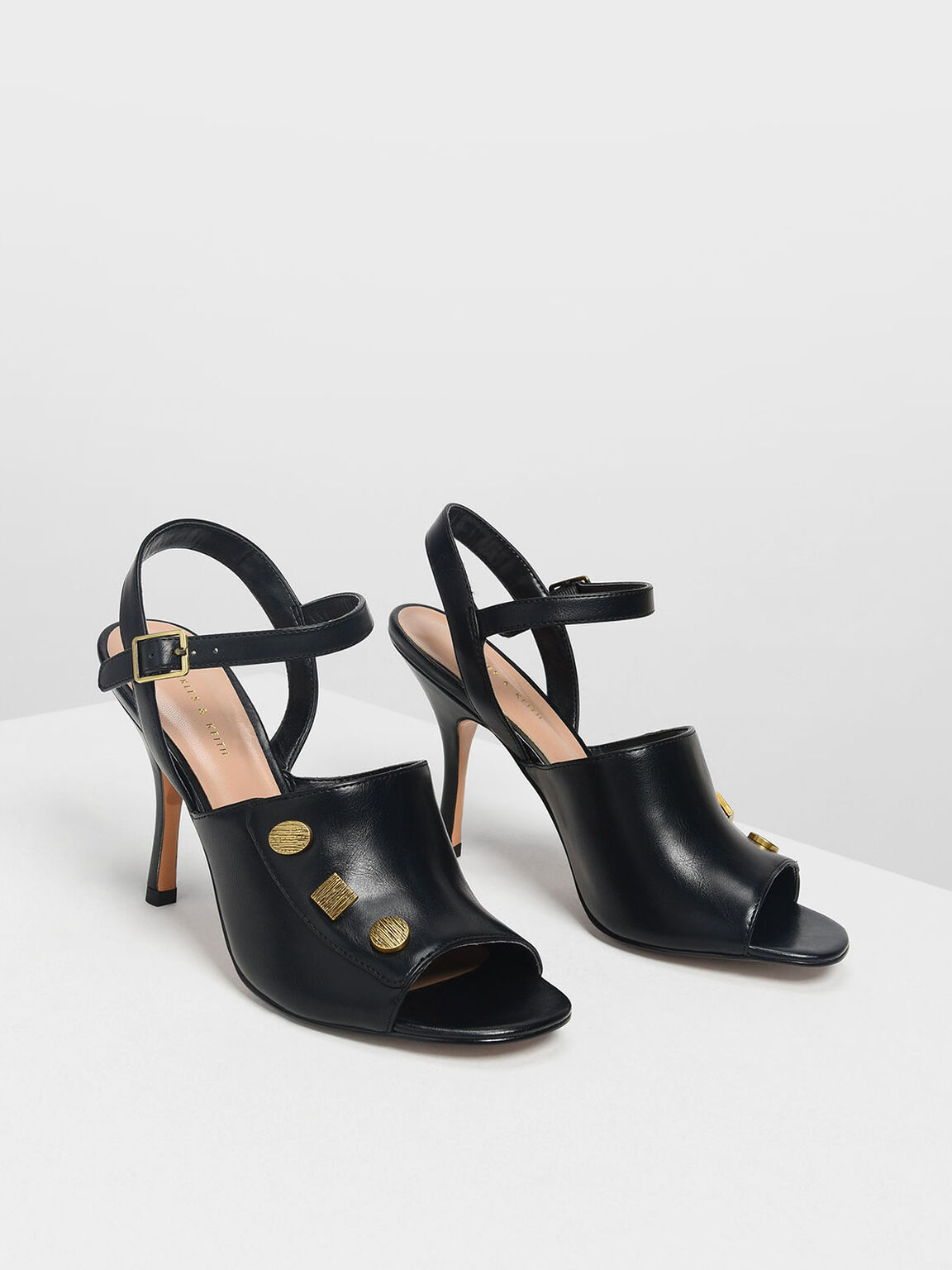 Vintage Button Heeled Sandals, Black, hi-res