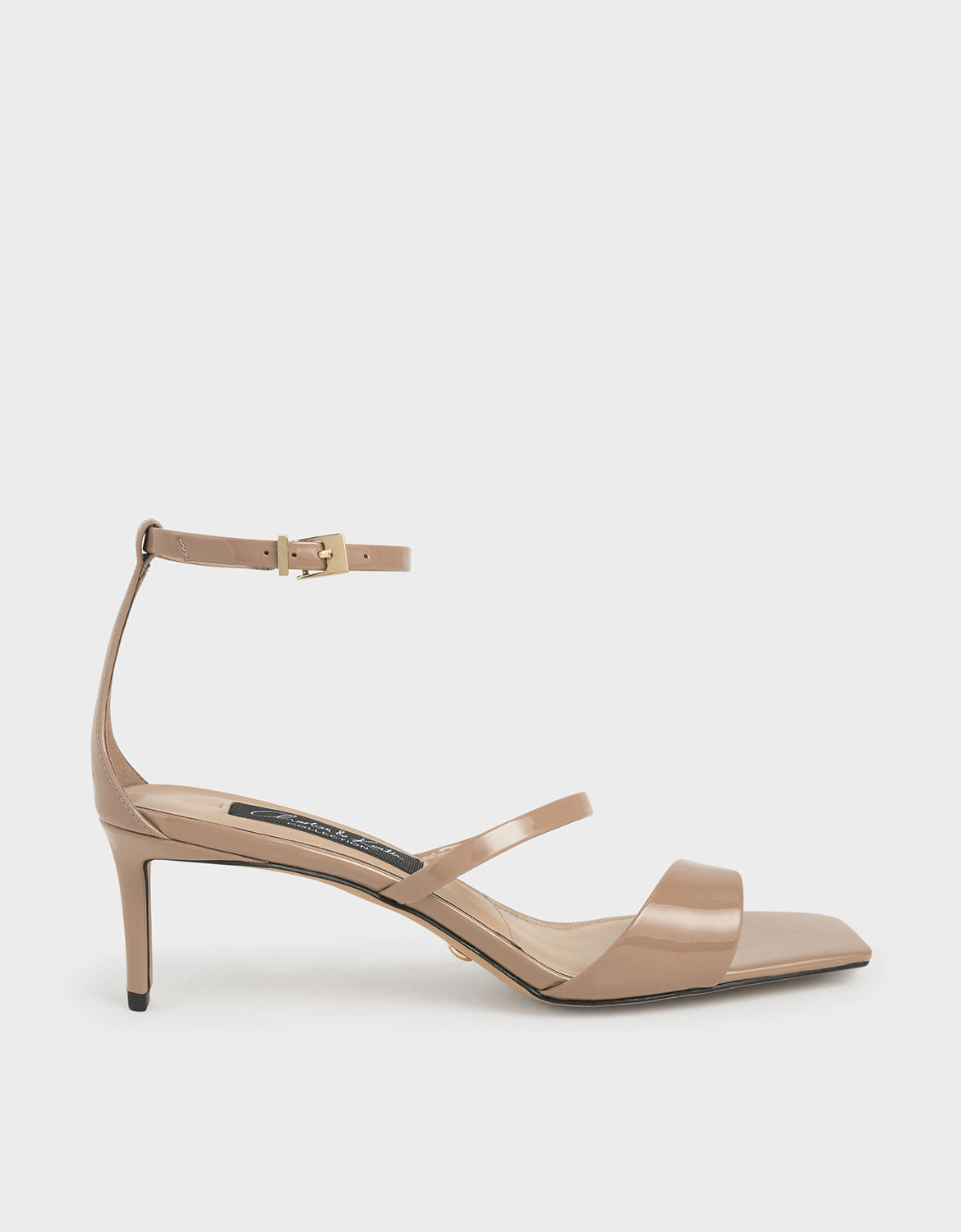 Nude Patent Leather Strappy Heeled