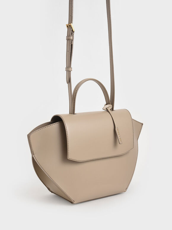 Geometric Top Handle Bag, Taupe, hi-res