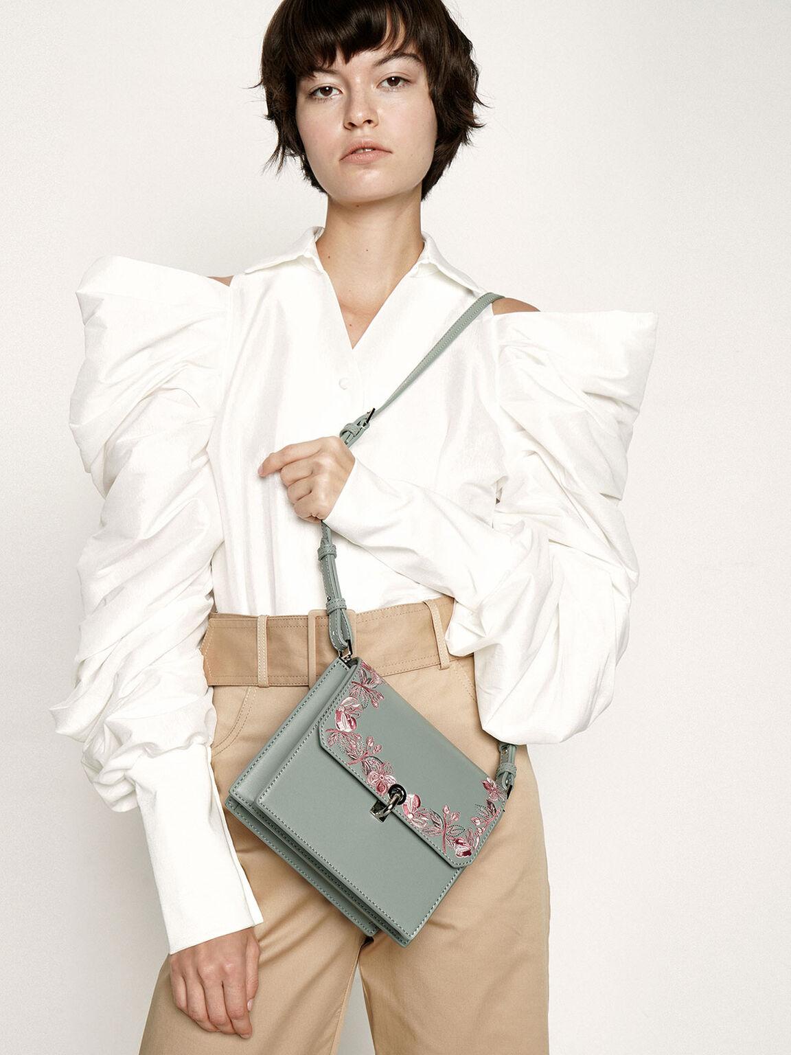 Floral Embroidered Turn Lock Bag, Green, hi-res