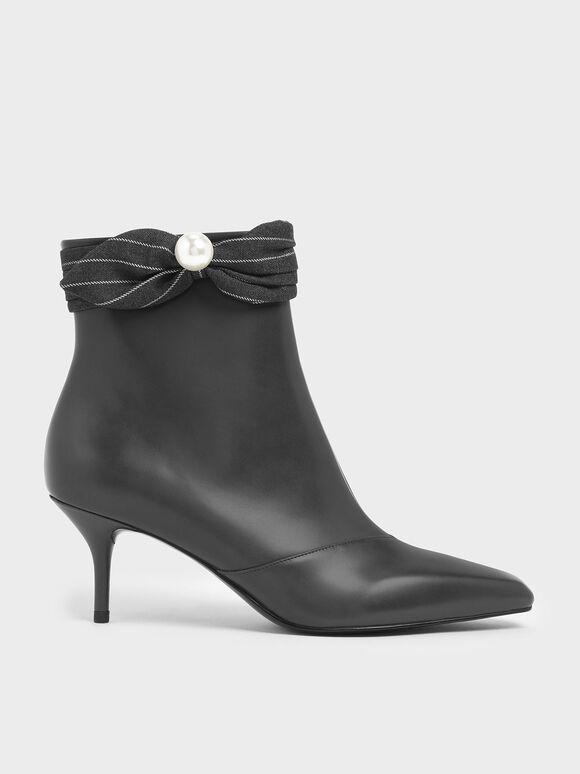 Pinstripe Ruched Embellished Ankle Boots, Dark Grey, hi-res