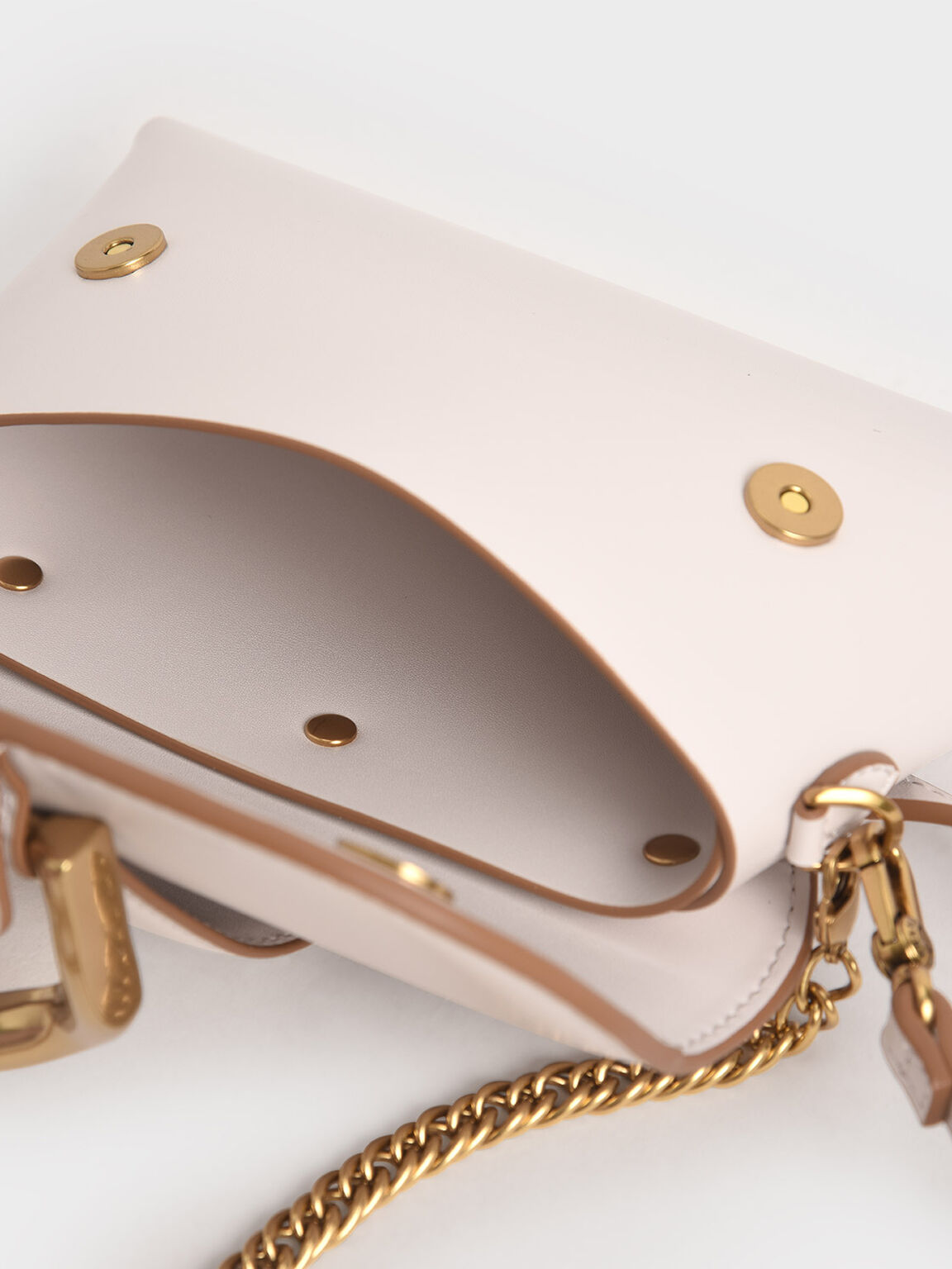 Metallic Buckle Crossbody Bag, Pink, hi-res