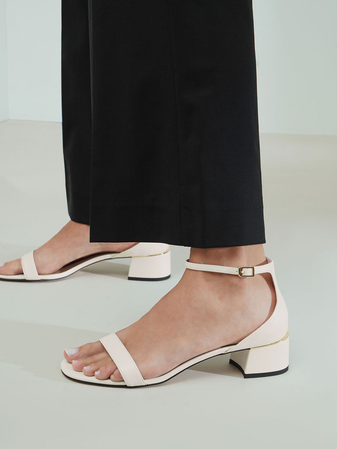 Ankle Strap Heeled Sandals, Chalk, hi-res