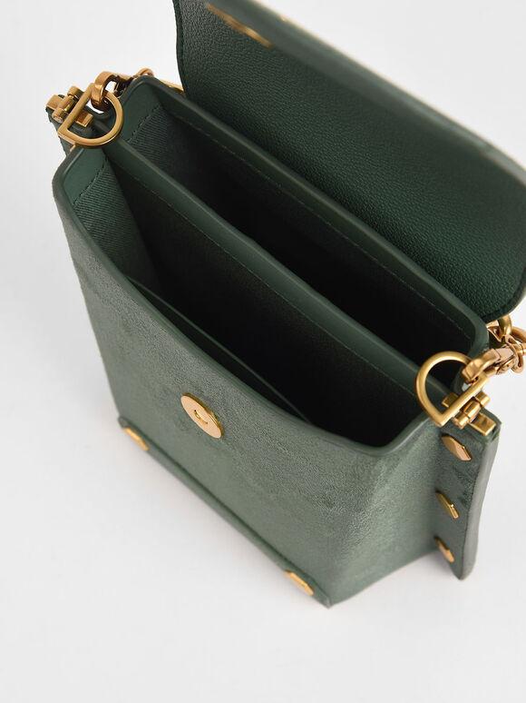 Studded Textured Bag, Green, hi-res