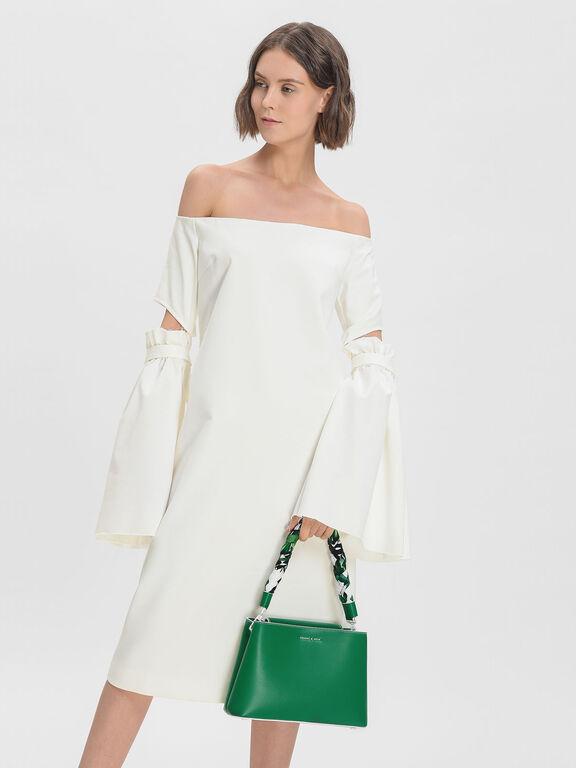 Scarf Wrapped Handle Handbag, Green, hi-res