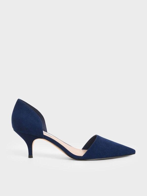 尖頭低跟鞋, 深藍色, hi-res
