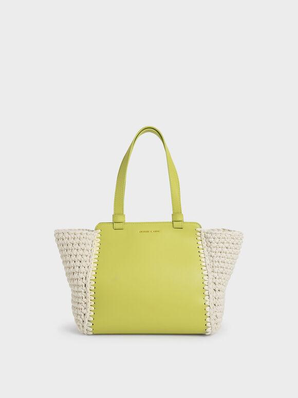 Crochet Tote Bag, Olive, hi-res