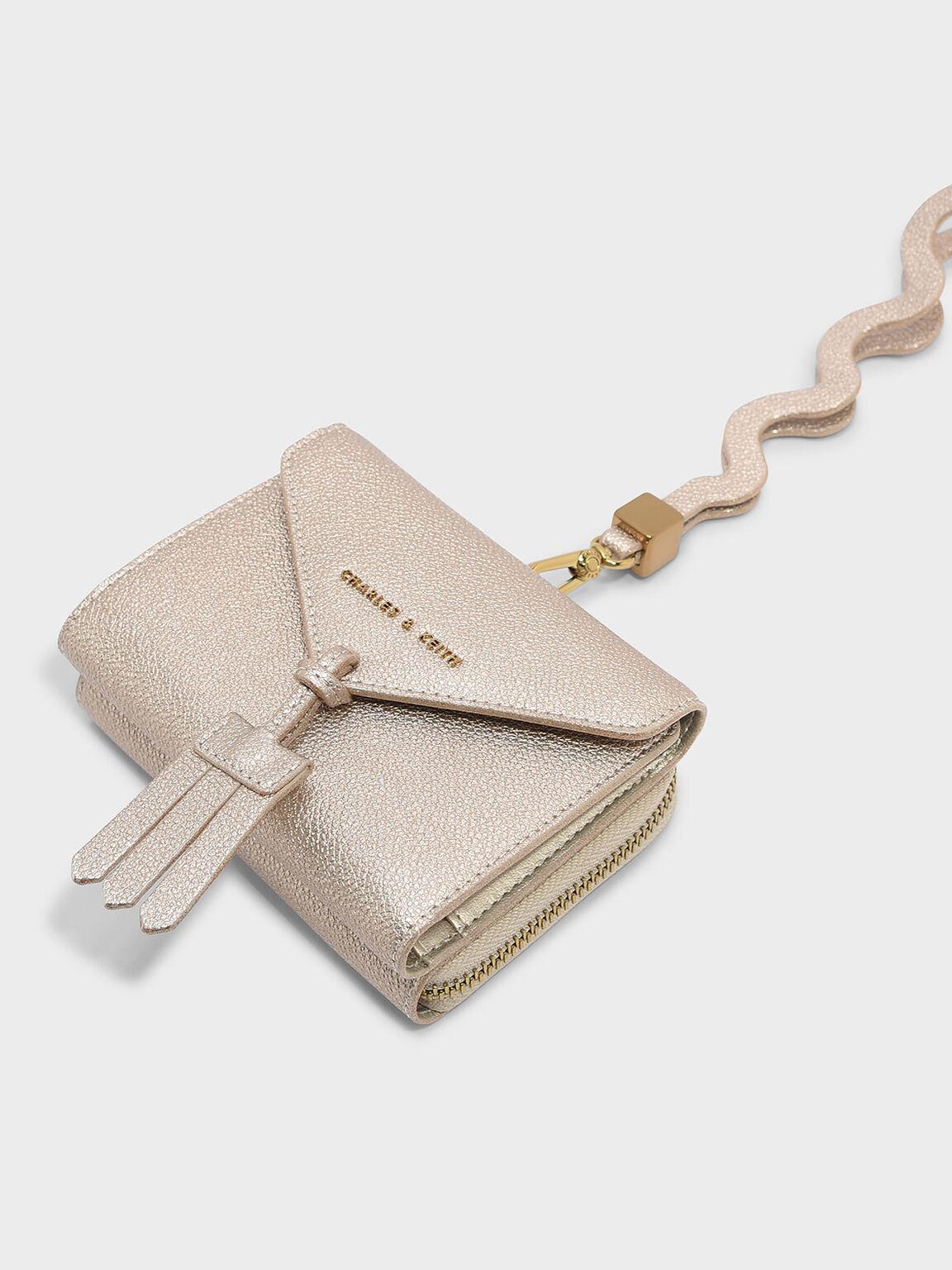 Tassel Detail Wallet, Rose Gold, hi-res