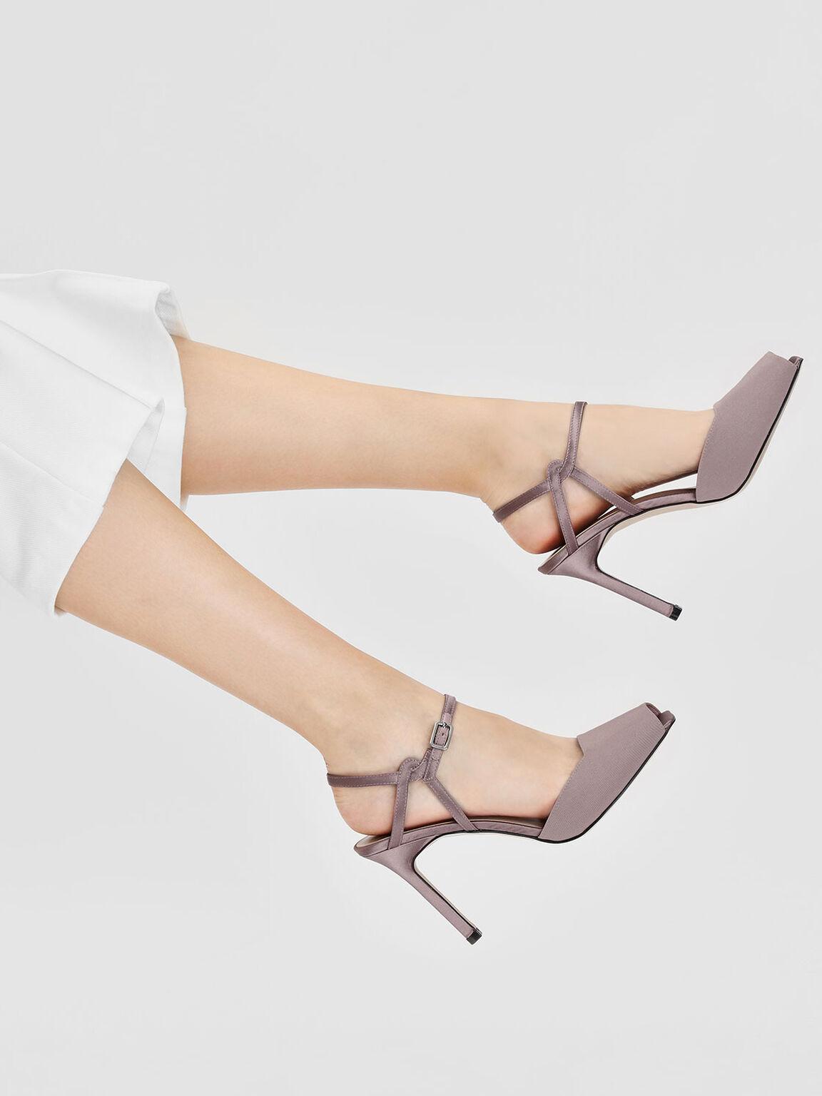 Peep Toe Satin Heeled Sandals, Nude, hi-res