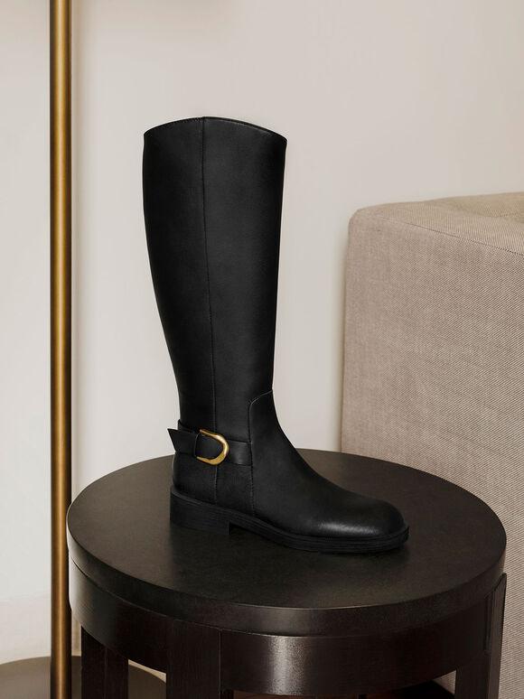 Gabine Buckled Leather Knee-High Boots, Black, hi-res