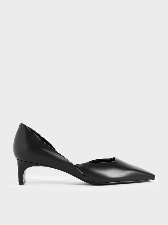 Square Toe D'Orsay Pumps, Black, hi-res