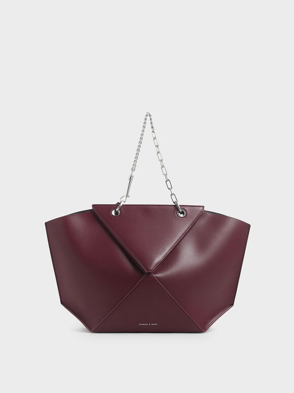 Thin Chain Handle Sculptural Tote, Burgundy, hi-res