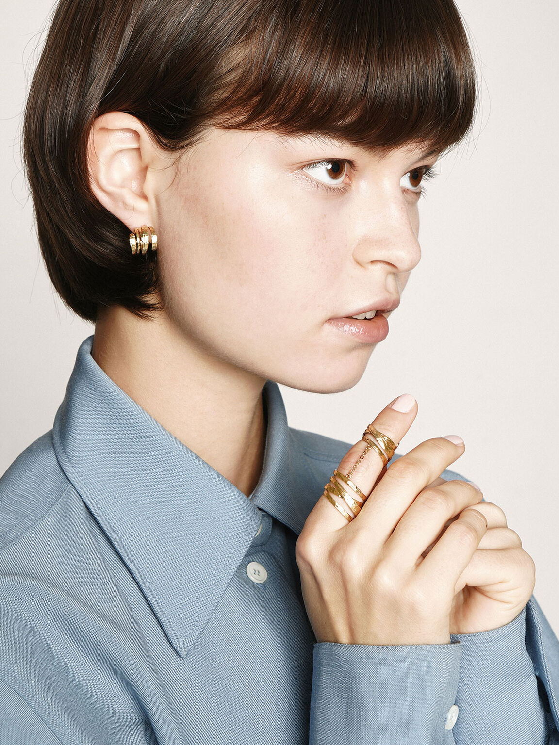 Hammered Huggie Hoop Earrings, Brush Gold, hi-res