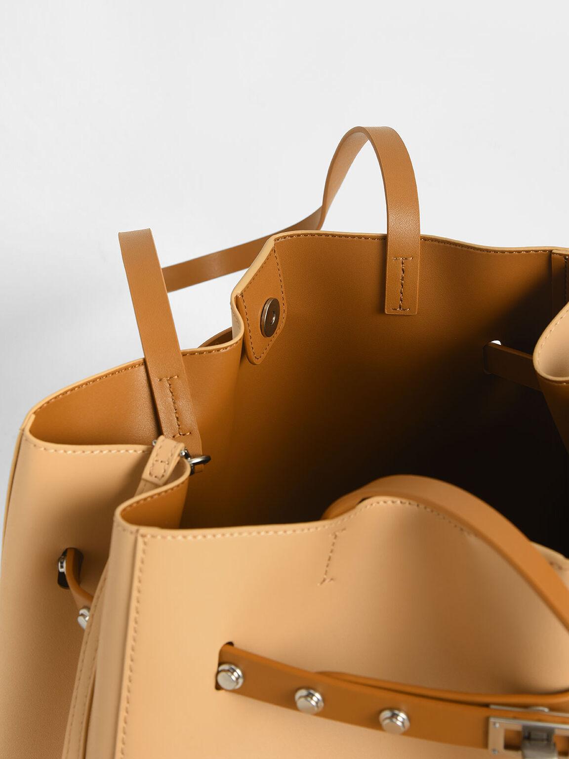 Grommet Strap Tote Bag, Nude, hi-res