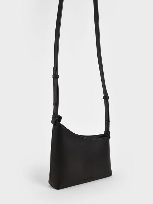 幾何剪裁手提包, 黑色, hi-res
