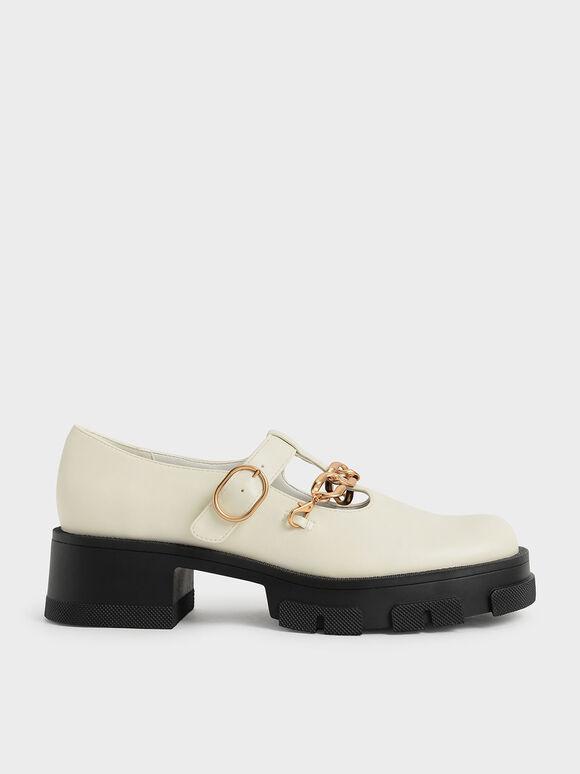 粗鍊厚底瑪莉珍鞋, 石灰白, hi-res