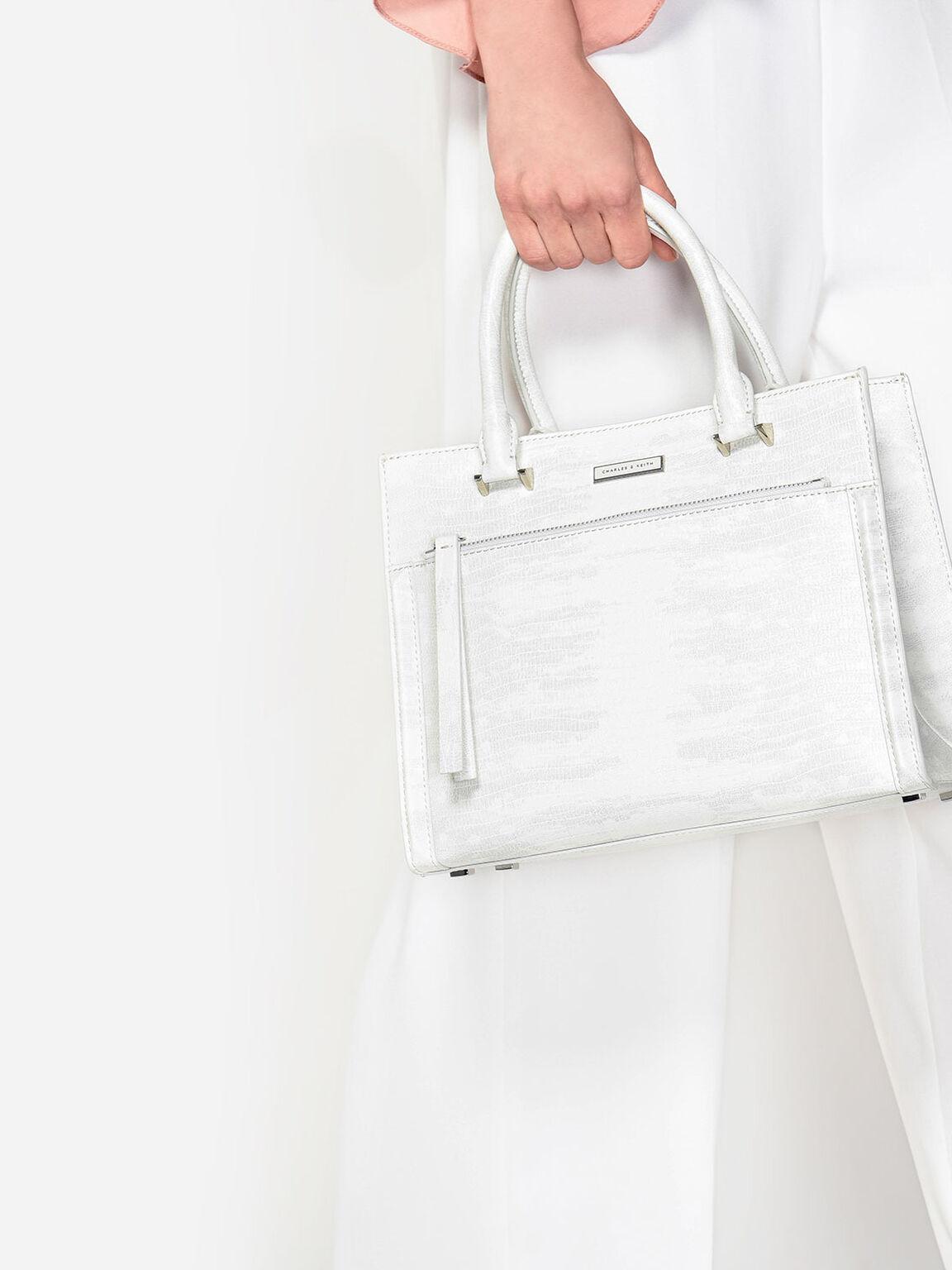 Snake Print Front Zip Handbag, Multi, hi-res