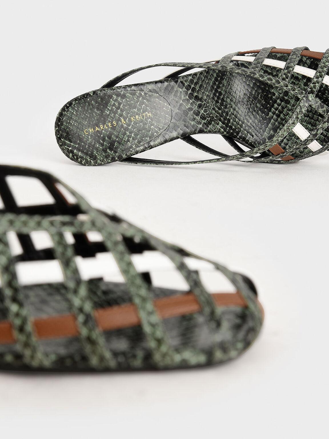 Snake Print Square Toe Caged Mules, Multi, hi-res